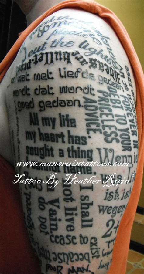 tattoo quotes sleeve half sleeve of words phrases tattoo by heather ruin mans