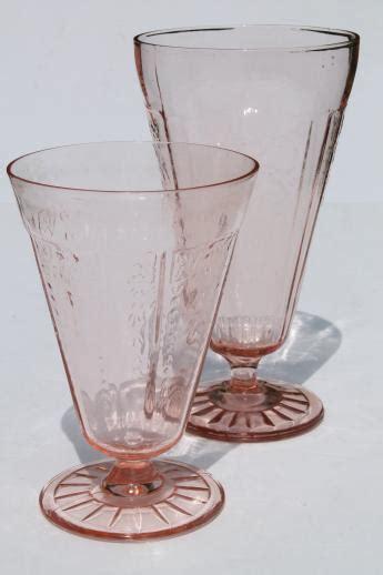 Vintage Brass Vase Vintage Pink Depression Glass Footed Tumblers Mismatched