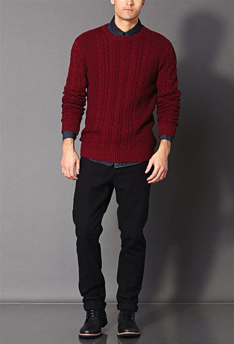 mens burgundy cable knit jumper lyst forever 21 chunky cable knit sweater in for