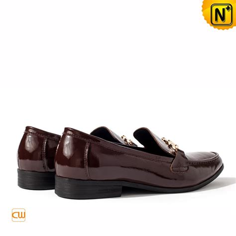 loafers shoes mens patent leather dress loafers shoes brown cw763316