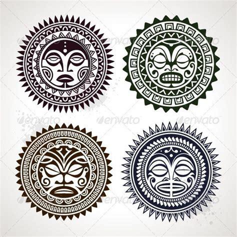 polynesian face tattoo designs sun mandala style tiki designs style