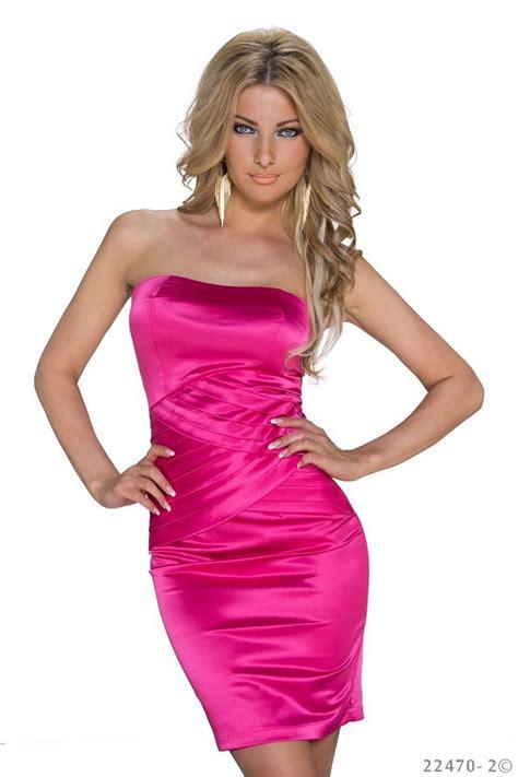 satin strapless mini dress fuchsia 003 22470 fashion