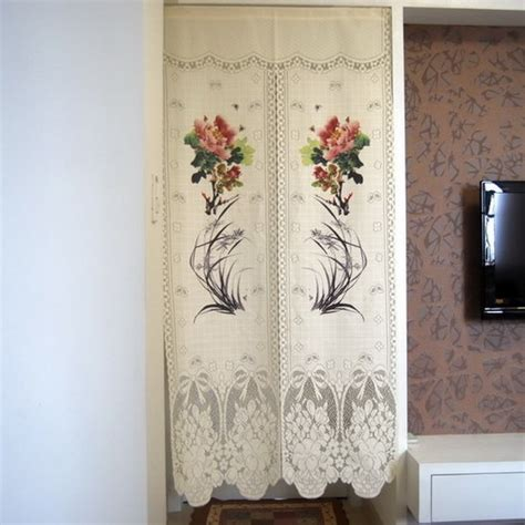 asian door curtain brand new chinese style peony and orchid auspicious print