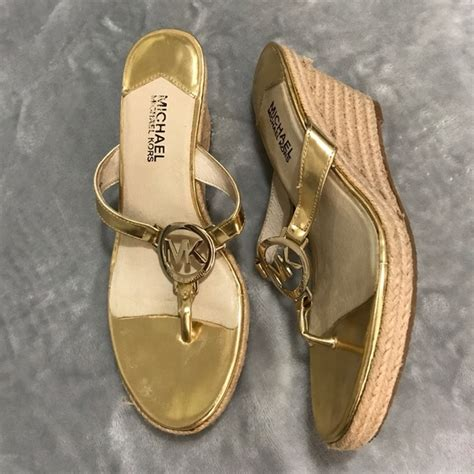 Mk B698 7 Wedges Shoes 56 michael kors shoes michael michael kors gold wedge sandals size 7 from s closet