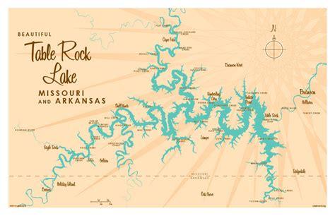 table rock lake mo map print