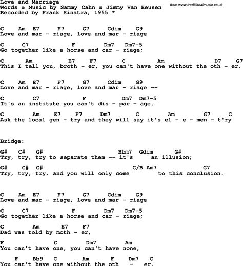 sinatra lyrics song lyrics with guitar chords for and marriage