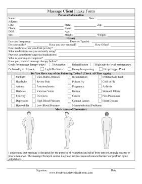 Massage Client Intake Form The Personal Information Of The Client Is Added In This Form This Personal Intake Form Template
