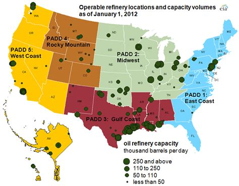 texas refineries map the crude trader where are u s refineries concentrated