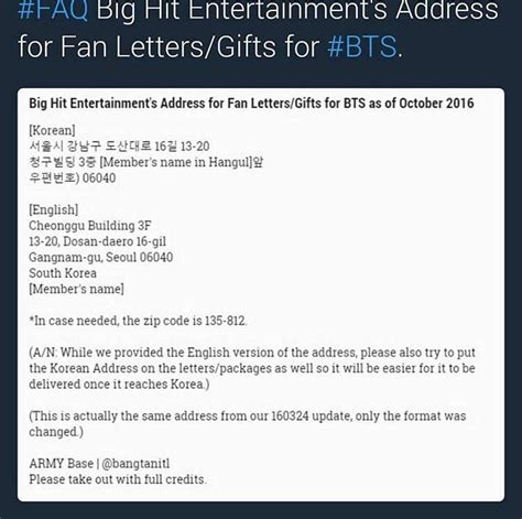 fan address where to send bts fanmail army s amino