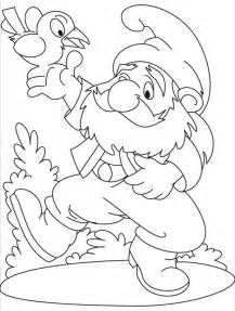 Gnome  Garden Dance With Bird Coloring Page sketch template