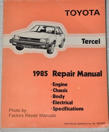 service and repair manuals 1993 toyota tercel electronic toll collection 1985 toyota tercel factory service manual original shop repair factory repair manuals