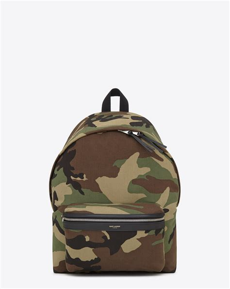 Laurent Backpack laurent classic backpack in khaki cotton gabardine camouflage and black leather