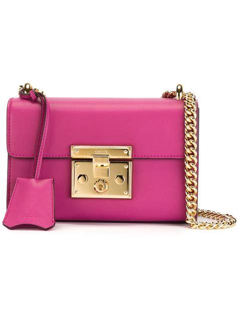 Gucci Pink Set gucci mini padlock leather shoulder bag in pink lyst