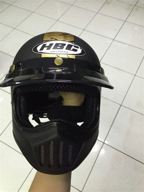 Helm Cakil Besar jual helm cakil born to ride black doff with stiker gold
