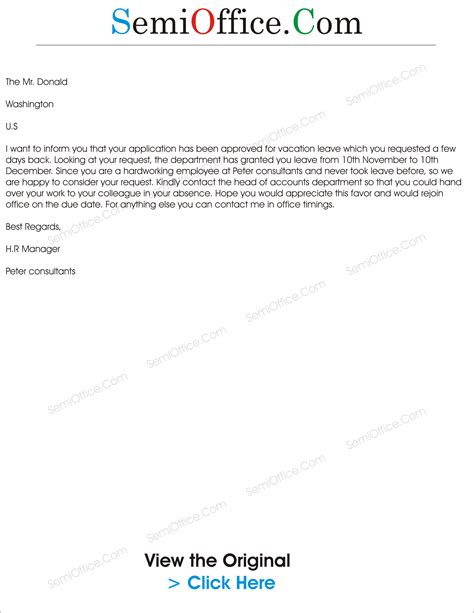 sample letter  approved vocation leave