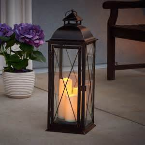 salerno triple led candle lantern antique brown smart