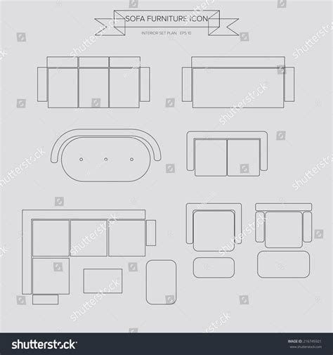 couch plan sofa furniture outline icon top view stock vector