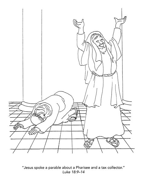 the pharisee and the tax collector free colouring pages