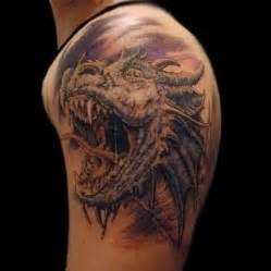 realistic icy dragon head tattoo on shoulder dragon tattoos