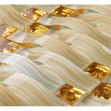 Wall Tile Stickers Kitchen hand painted glass tile gold crystal mosaic backsplash