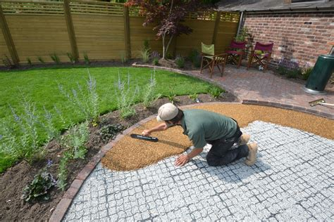 laying gravel in backyard resin bound gravel patio in wilmslow back yard