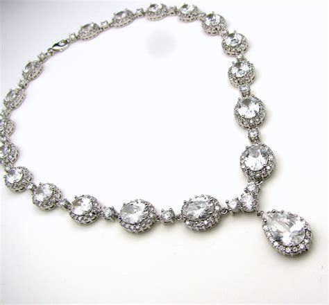 bridal jewelry christams pageant prom wedding necklace clear