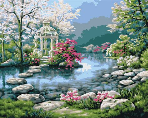 beautiful garden paintings love  place peaceful