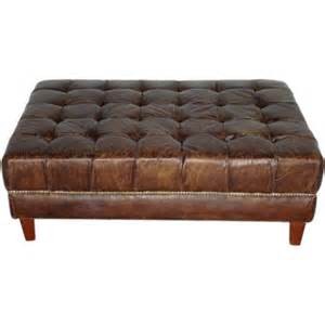 Leather Tufted Ottoman Aged Leather Tufted Ottoman At 1stdibs