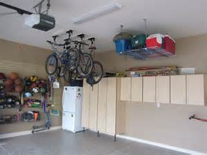 garage organization solutions garage ceiling storage overhead bicycle and cooler