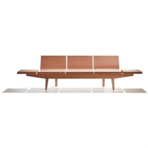 lobby seating benches andreu treinal three seater wood veneer bench reception