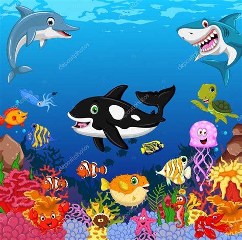 imagenes animales de mar animales del mar divertidos dibujos animados con el fondo