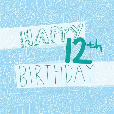 Birthday Cards For 12 Year Happy 12th Birthday Girl S Card By Megan Claire