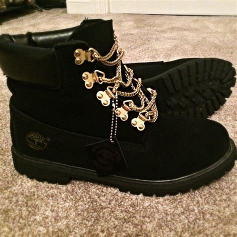 black timberlands with gold chain laces for sale