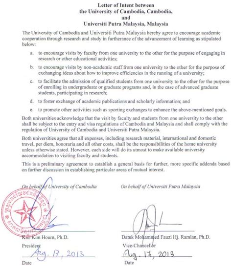 Letter Of Intent Research Cooperation Welcome To The Of Cambodia Uc