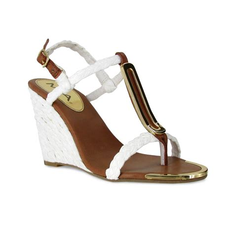 mioa sandals wedge sandals in white lyst