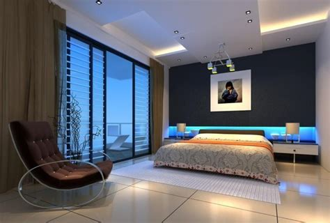 Interior Design Ideas For Blue Bedroom Leisure Sofa Blue Wall L Bedroom Interior Design 3d