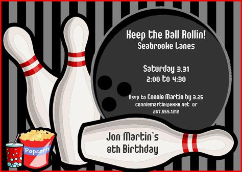 free bowling invitation templates 9 best images of bowling birthday invitations printable