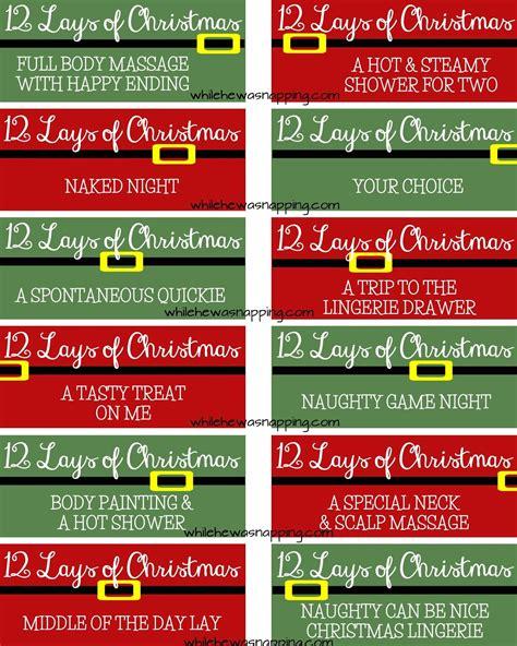 Printable Love Coupons For Christmas | printable 12 lays of christmas coupons for couples