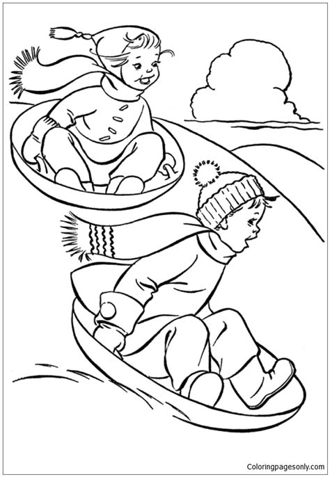 snow coloring pages dog and kid in winter grig3 org kids having fun in winter with sled dog coloring page