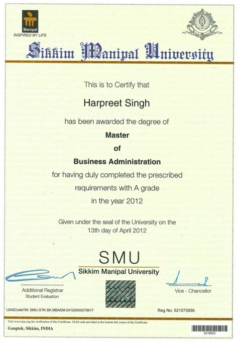 Smu Mba Marksheet by Mba Smu Degree