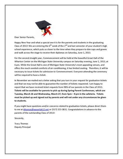 Parent Letter Graduation Waverly High School Just Another Site