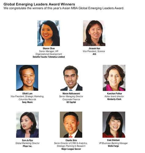 Asian Mba Conference Nyc 2014 by Home Gt Global Emerging Leaders Award Asian Mba