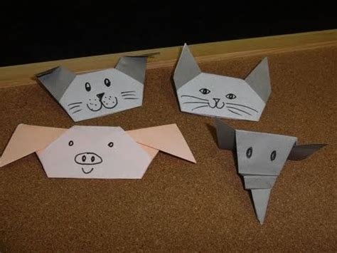 Origami Finger - how to make a mouse finger puppet funnycat tv