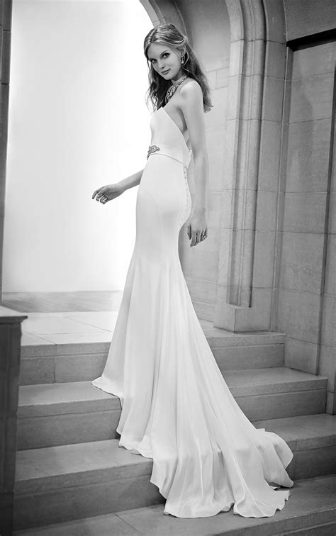 simple fitted silk sheath wedding gown martina liana wedding dresses