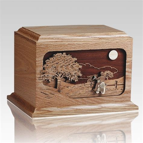 Wood Collection Motor Rider motorcycle rider oak wood cremation urn