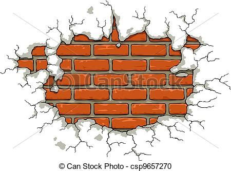 Vector Clipart of Brick wall with damaged plaster vector