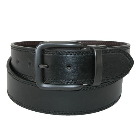 mens leather gunmetal buckle 1 1 2 inch reversible belt by