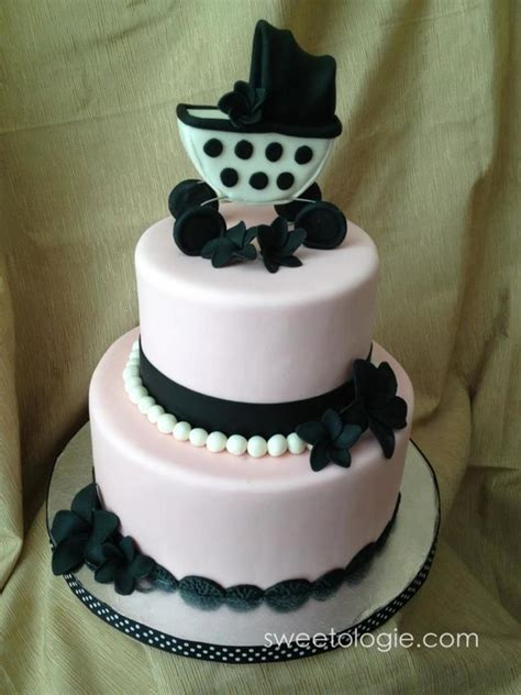 Black And Pink Baby Shower Cakes by Chic Pink Ivory And Black Baby Shower Cake 69 Cake Swiss