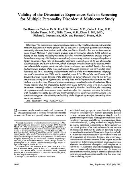 (PDF) Validity of the Dissociative Experiences Scale in