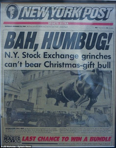 new york post newspaper best christmas presents how new york s charging bull was secretly dropped by a guerrilla artist daily mail